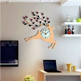 Creative Deer Shape MDF Diamante Battery Hanging Wall Clock
