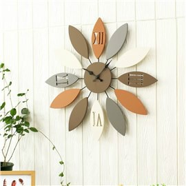 Leaves Iron and Board Durable and Mute Hanging Wall Clock