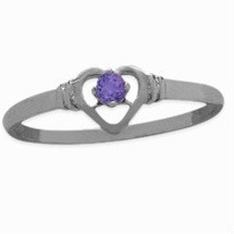 Ladies White Gold Amethyst Round Ring For Valentines Day
