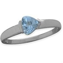 Ladies White Gold Blue Topaz Heart Ring