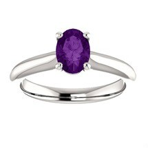 Ladies White Gold Oval Amethyst Solitaire Ring For Valentines Day