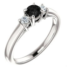 14 Karat White Gold 4mm Round Black Diamond Ring