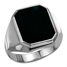 Men's Genuine Sterling Silver Irregular Octagon Onyx Ring