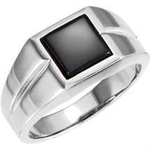 Men's Genuine Sterling Silver Square Onyx Ring
