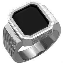 Men's Genuine Sterling Silver Detailed Onyx Ring