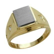 Men's 10 Karat Two-Tone Gold & Cubic Zirconia Ring