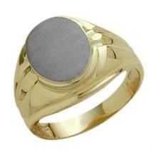 Men's 10 Karat Two-Tone Gold Classy Oval Ring