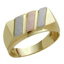 Men's Designer 10 Karat Tri-Color Gold Ring