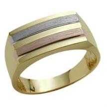 Men's 10 Karat Designer Tri-Color Gold Ring