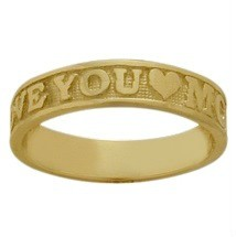 Yellow Gold I Love You Mom Expression Valentines Ring