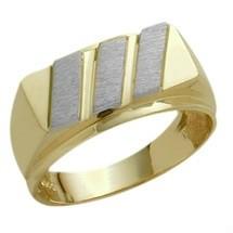 Men's Designer Two-Tone Valentines Day 10 Karat Gold Ring