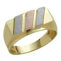 Men's Designer 10 Karat Tri-Color Gold Valentine Ring