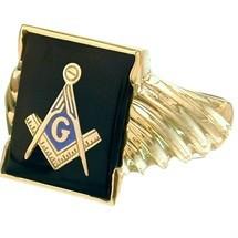 Men's Onyx Cushion Cut 10K Yellow Gold Masonic Ring