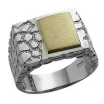 Men's Nugget Style 10 Karat Two-Tone Gold Ring