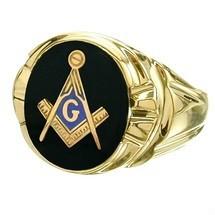 Men's Oval Onyx 10K Yellow Gold Masonic Ring