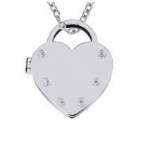 Sterling Silver Heart Lock Photo Locket with Chain Included