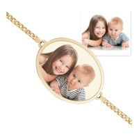 Oval Photo Engrave Bracelet w/ Curb Chain