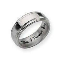 Titanium Grooved Edge 8mm Polished Men's Promise Ring