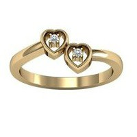 Solid Gold Double Heart Ring W/ Diamonds
