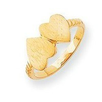 Solid Gold Double Heart Engravable Ring