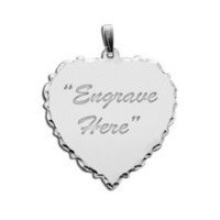 Engravable 14K White Gold Scalloped Heart with Diamond Cut Pendant or Charm