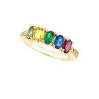 Mother's Ring with Five Birthstones and Diamonds