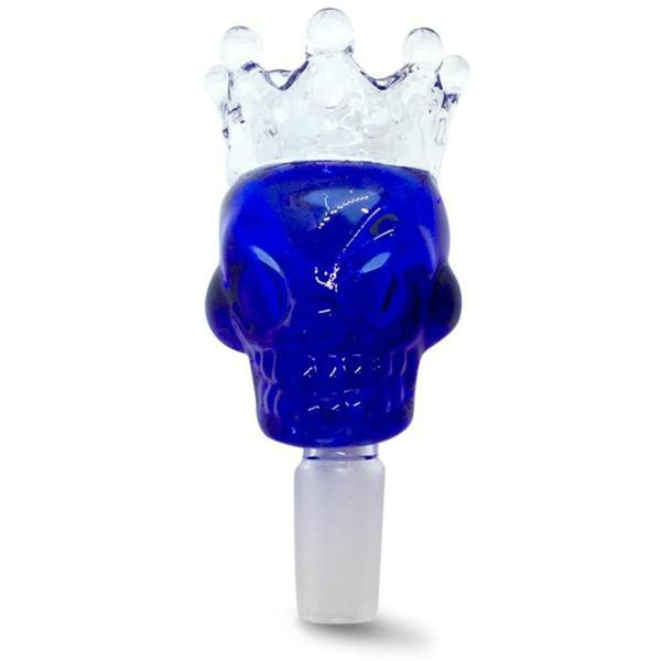 14mm Male Blue Skull Crown Herb Holder