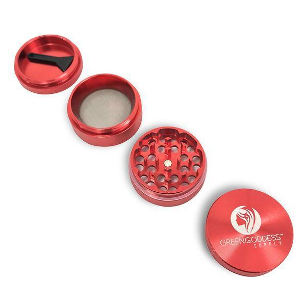 1.5 inch 4-Piece Aluminum Grinder - Red