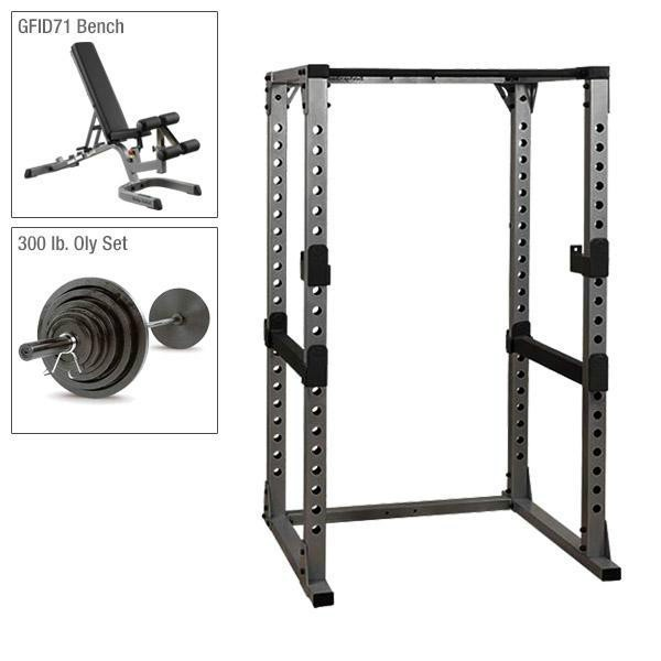 Body-Solid Power Rack Package with 300 lb. Weight Set