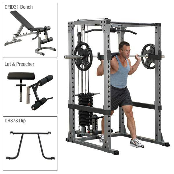 Body-Solid Power Rack Package with Lat, Stack, Bench, and Attachments