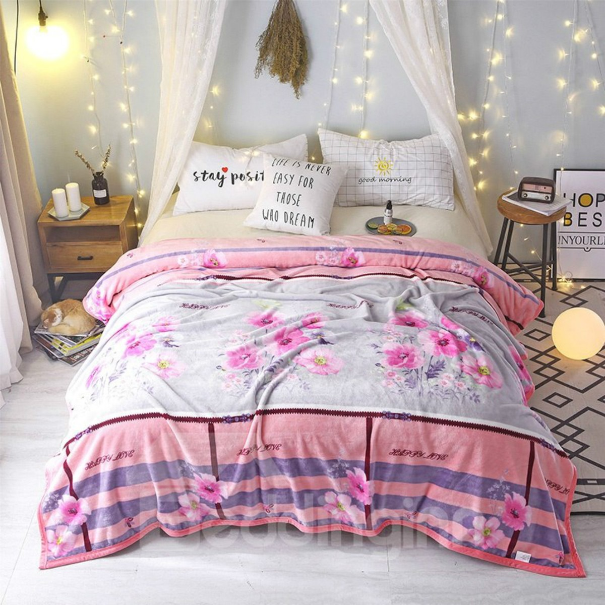Pink Flowers Warm Thick Flannel Indoor Blanket