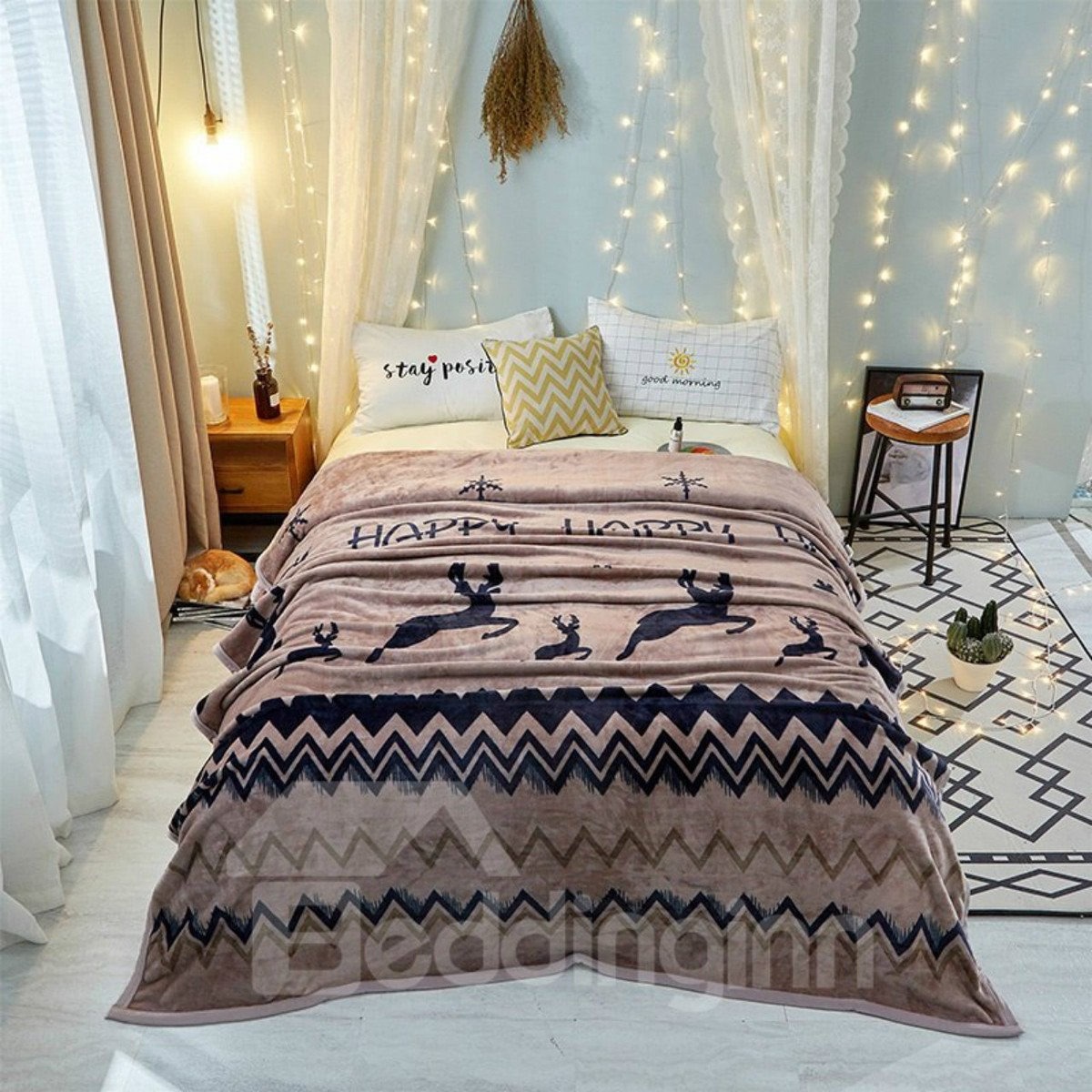 Moose Series-Special Wave Design For Bed Flannel Blanket