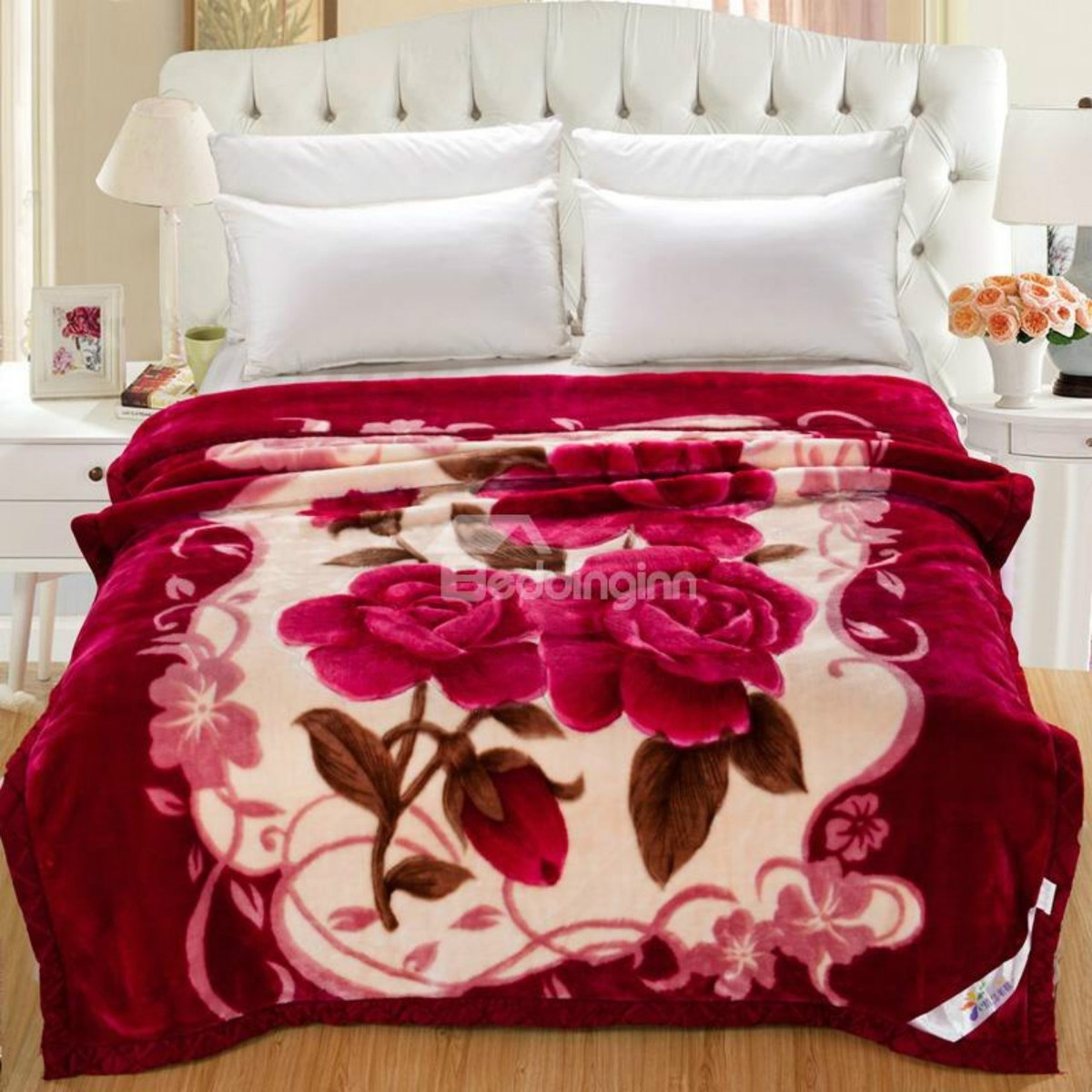 Rose Red Flowers Printed Flannel Fleece Bed Blankets