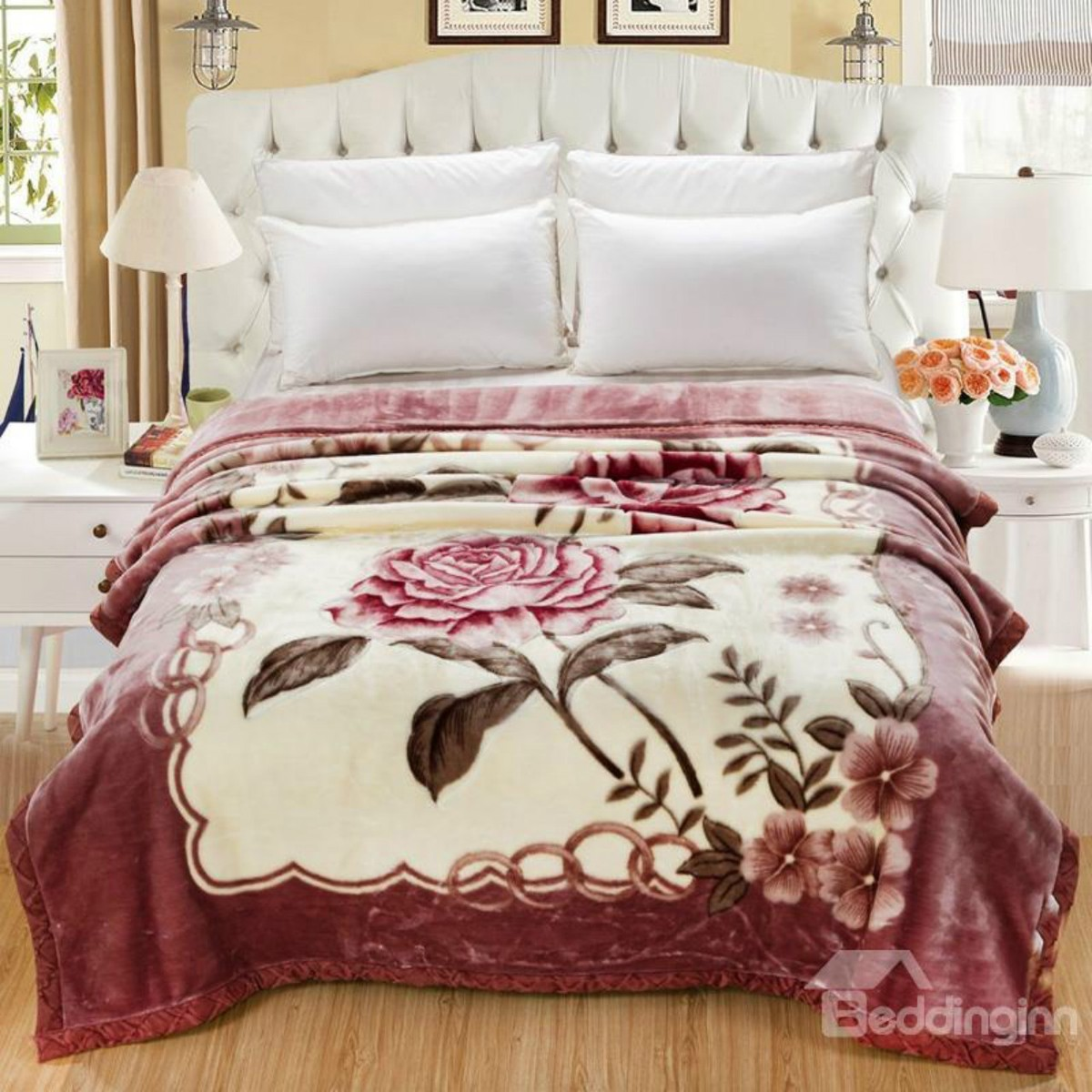 Graceful Pink Roses Thick Flannel Fleece Bed Blanket