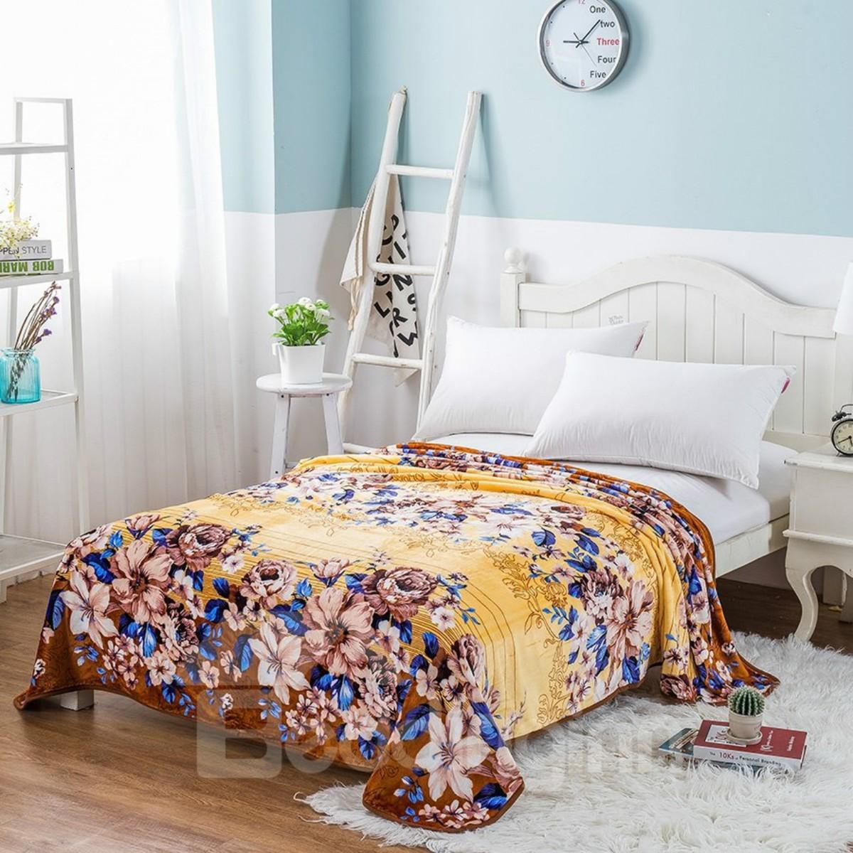 Peonies in Full Bloom Printing Brown Flannel Bed Blanket