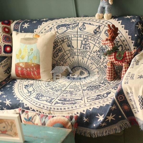 Vintage Style Zodiac Pattern Design Cotton Versatile Throw Blanket