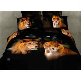 3D A Couple of Lions Printed Cotton 4-Piece Black Bedding Sets/Duvet Covers