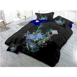 Black Flower Wear-resistant Breathable High Quality 60s Cotton 4-Piece 3D Bedding Sets