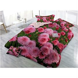 Pink Chrysanthemum Wear-resistant Breathable High Quality 60s Cotton 4-Piece 3D Bedding Sets