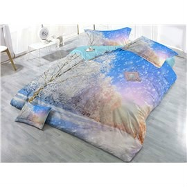 Dreamy Snow Covered Forest Scenery Wear-resistant Breathable High Quality 60s Cotton 4-Piece 3D Bedding Sets