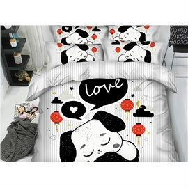 3D Cartoon Black and White Dog with Love Printed 4-Piece Bedding Sets/Duvet Covers