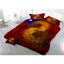 Golden Red Flame Wear-resistant Breathable High Quality 60s Cotton 4-Piece 3D Bedding Sets