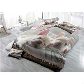 French Bulldog Light Grey Wear-resistant Breathable High Quality 60s Cotton 4-Piece 3D Bedding Sets