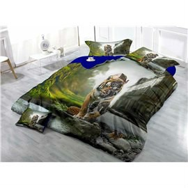 Biomechanical Cyborg Tiger Wear-resistant Breathable High Quality 60s Cotton 4-Piece 3D Bedding Sets