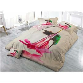 Hummingbird and Pink Lily Wear-resistant Breathable High Quality 60s Cotton 4-Piece 3D Bedding Sets
