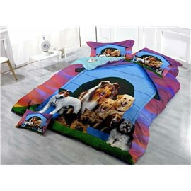 Dogs Wear-resistant Breathable High Quality 60s Cotton 4-Piece 3D Bedding Sets