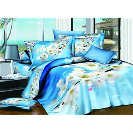 3D Wild Cherry Printed Cotton 4-Piece Light Blue Bedding Sets/Duvet Covers