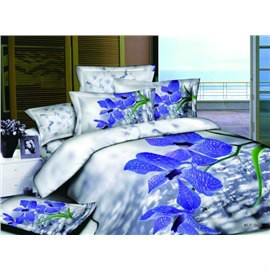 3D Violet Flower Printed Cotton 4-Piece Bedding Sets/Duvet Covers