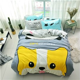 Cotton 4-Piece Funny Dog Pattern Kids Duvet Covers/Bedding Sets