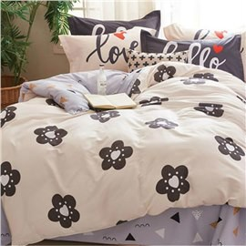 Brown Flowers Printed Cotton Khaki Kids Duvet Covers/Bedding Sets